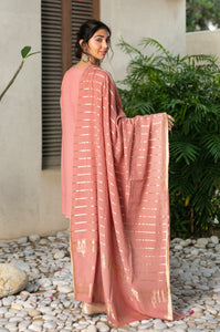 2 Piece Unstitched Striped Maysuri Suit with Jacquard Dupatta