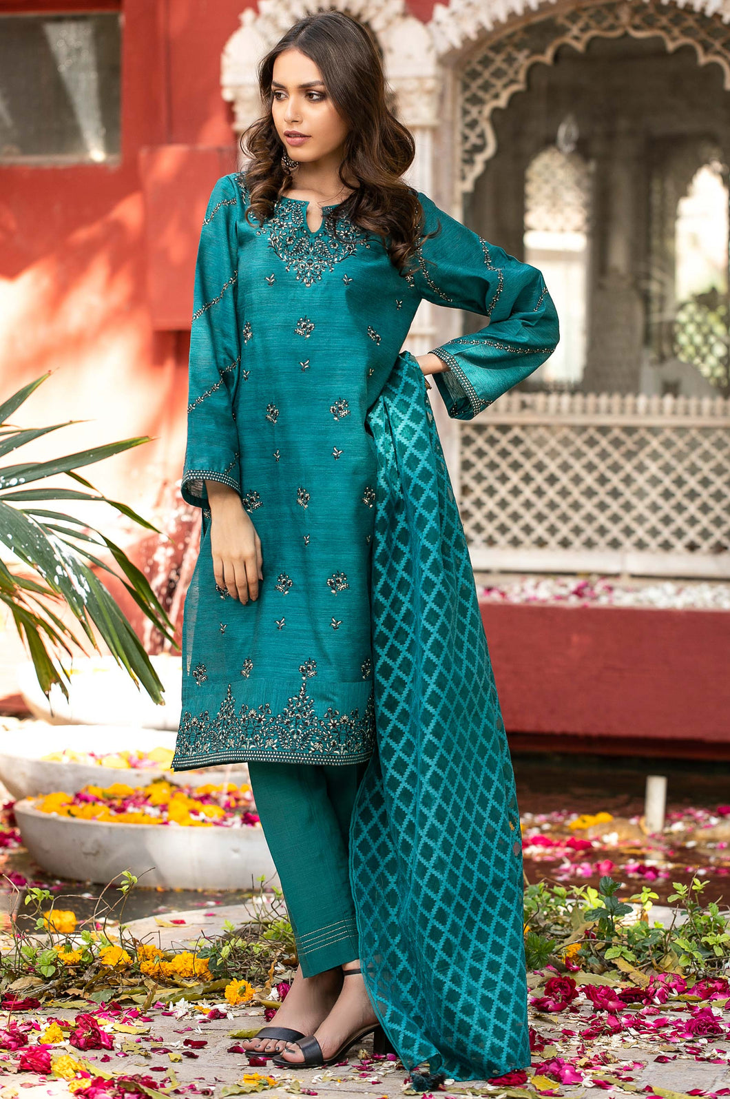 Unstitched 3 Piece Embroidered Suit