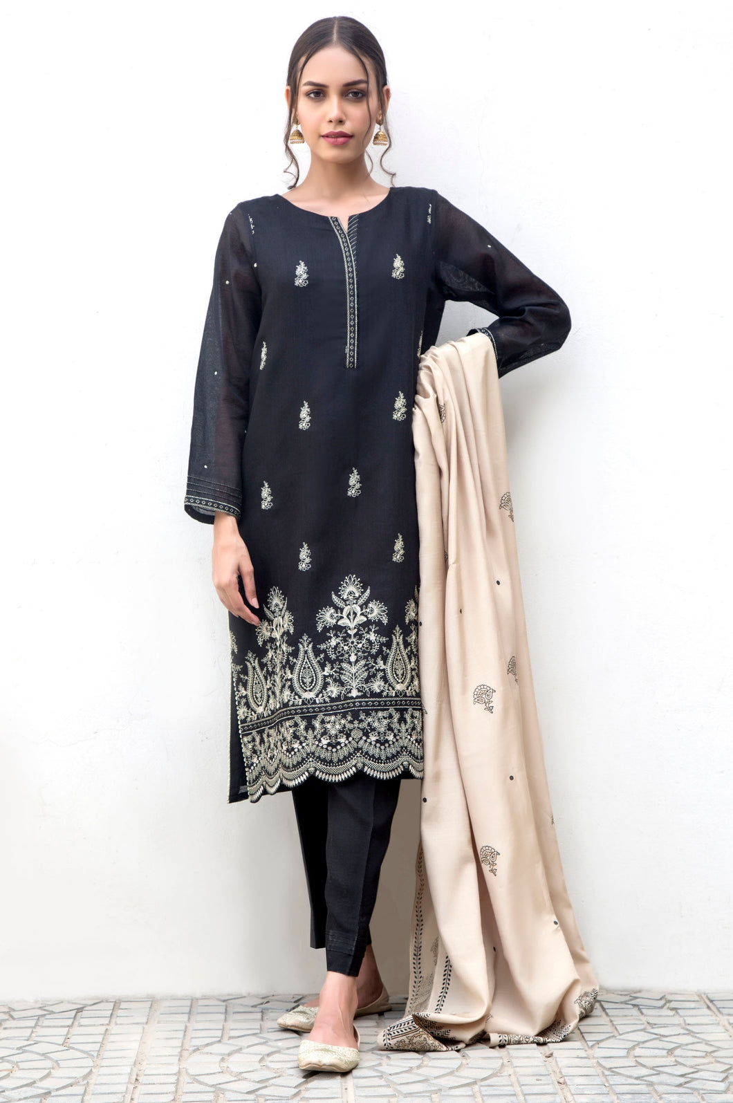 3 Piece Unstitched Suit-Fabric: Cotton Net