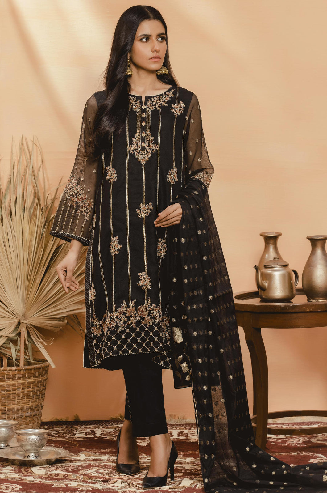 3 PC Unstitched Suit-Fabric: Khaddi Net