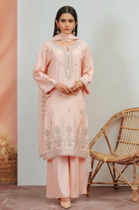 3 Piece Unstitched Embroidered Raw Silk Suit With Chiffon Dupatta