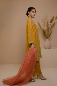 3 Piece Unstitched Checkered Organza Suit with Organza Dupatta