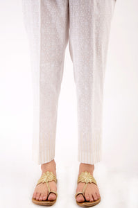 Embroidered Cambric Pants - White Paste