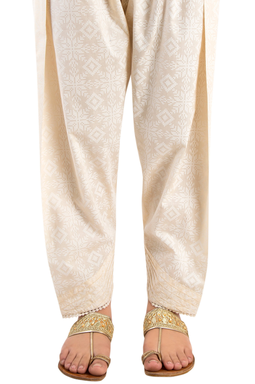 Embellished Narrow Shalwar - White Paste/Beige
