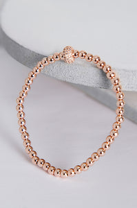 Rose Gold Beaded Stretch Bracelet
