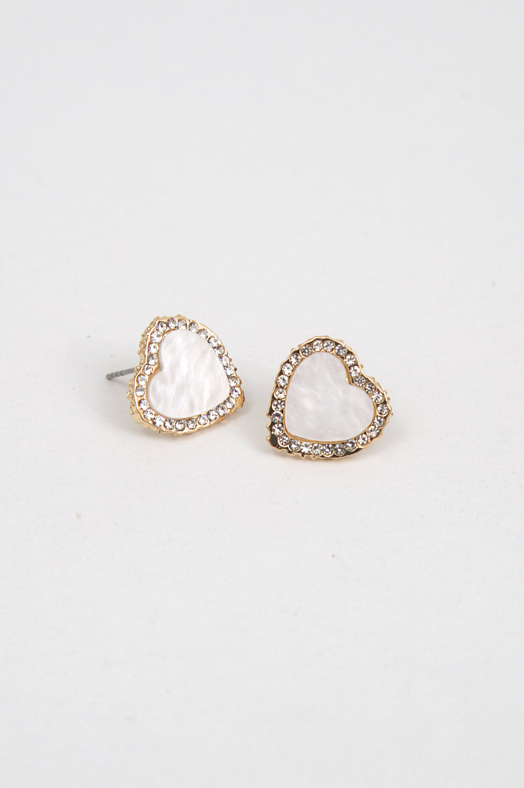 Crystal Paved Heart Earrings