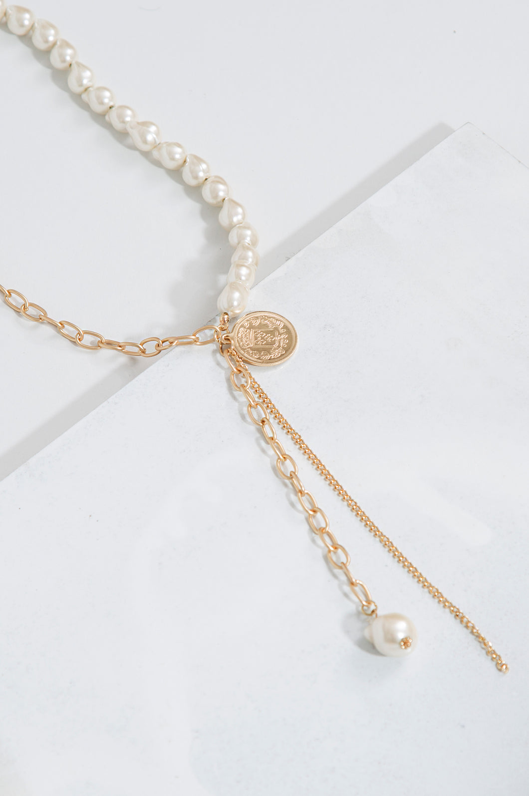 Pearl Rock Charm Necklace