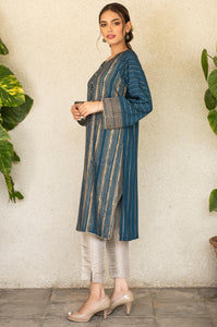 Stitched 1 Piece Raw Silk Embroidered Shirt