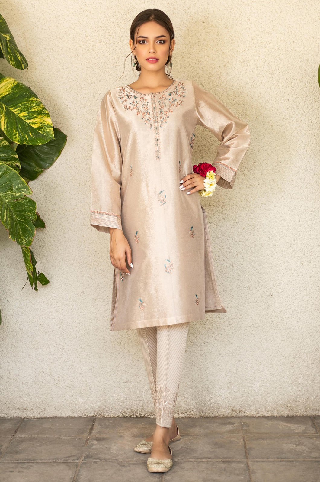 Stitched 1 Piece Tissue Zari Embroidered Shirt