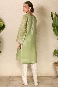 Stitched 1 Piece Zari Striped Embroidered Shirt