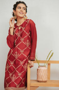 Stitched 1 Piece Cotton Net Embroidered Shirt