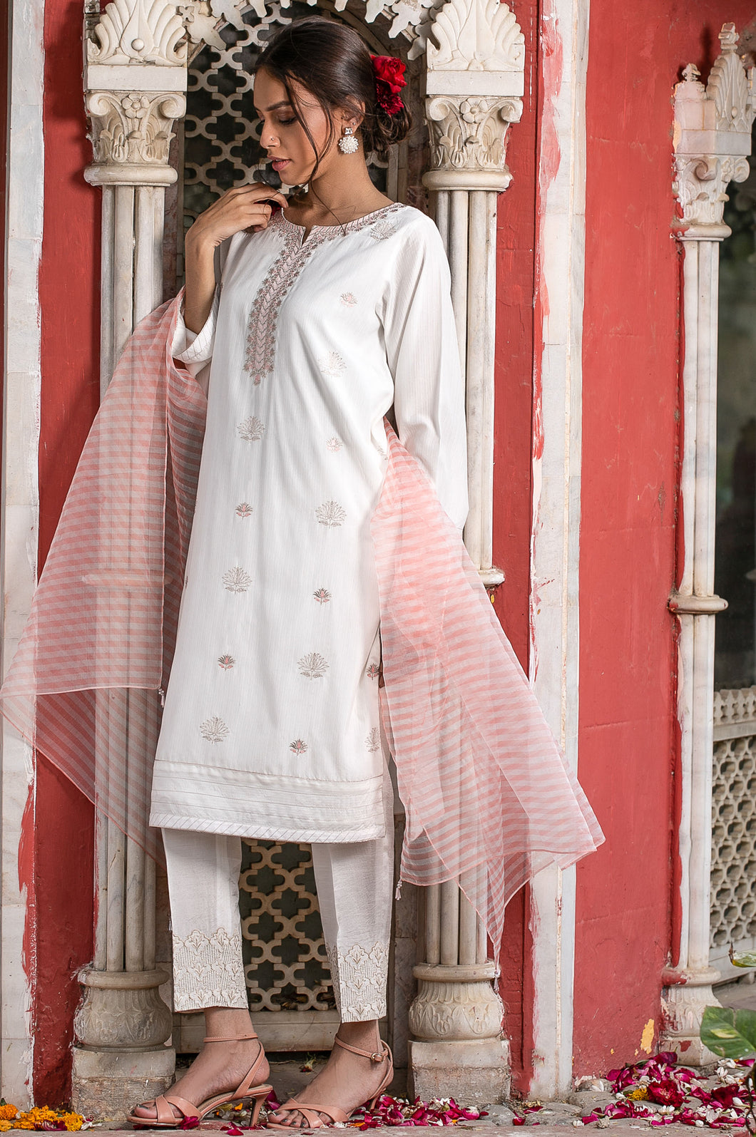 Stitched 2 Piece Embroidered Cotton Silk Suit