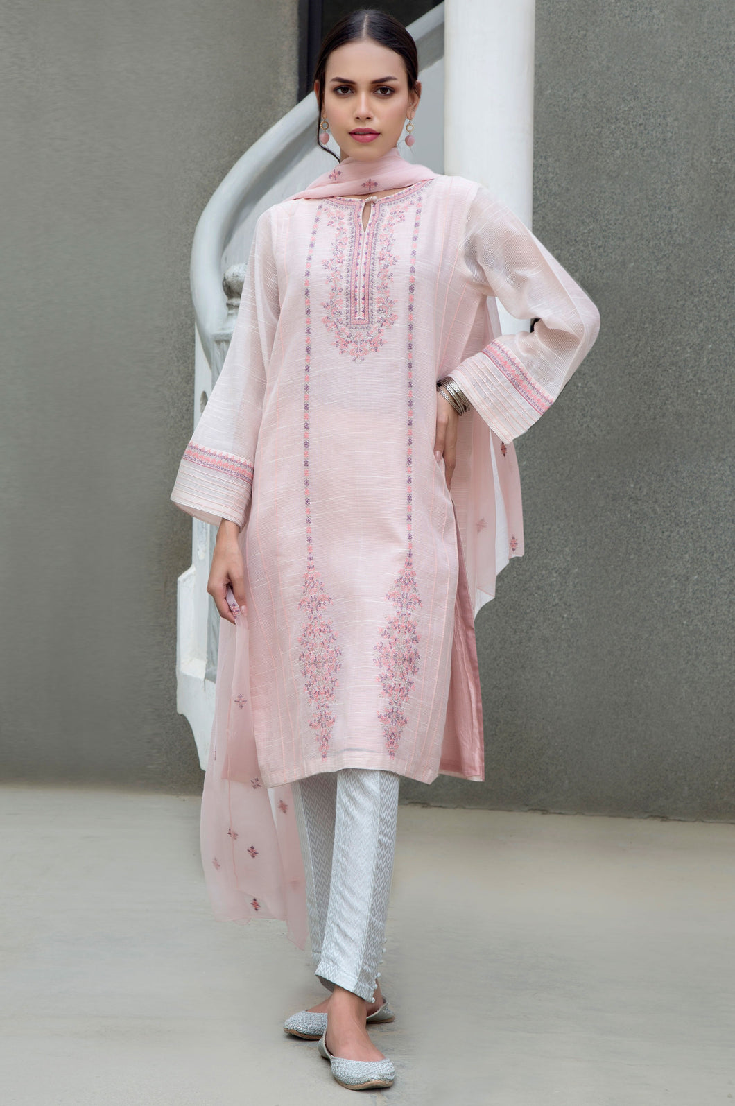 Stitched 2 Piece Slub Net Embroidered Suit