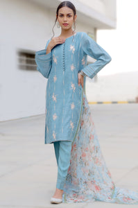 Stitched 2 Piece Slub Raw Silk Embroidered Suit
