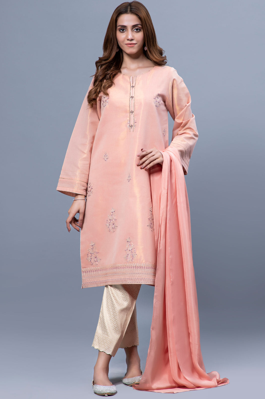 Stitched 2 Piece Mysuri Net Embroidered Suit
