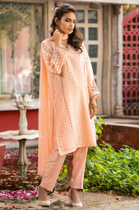 Stitched 3 Piece Jacquard Organza Embroidered Suit
