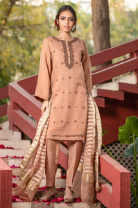 Stitched 3 Piece Organza Embroidered Suit