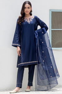 Stitched 3 Piece Cotton Silk Embroidered Suit