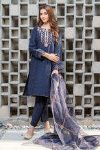 Load image into Gallery viewer, Stitched 3 Piece Raw Silk Embroidered Suit