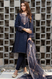 Stitched 3 Piece Raw Silk Embroidered Suit