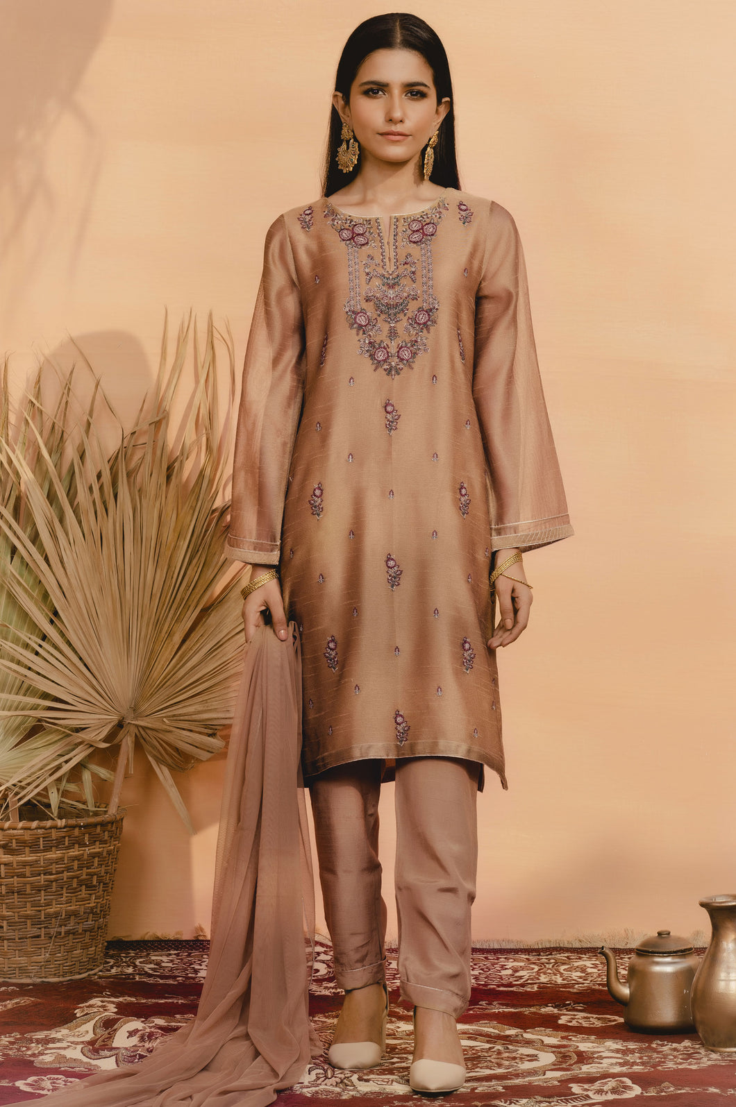 Stitched 3 Piece Khaddi Net Embroidered Suit