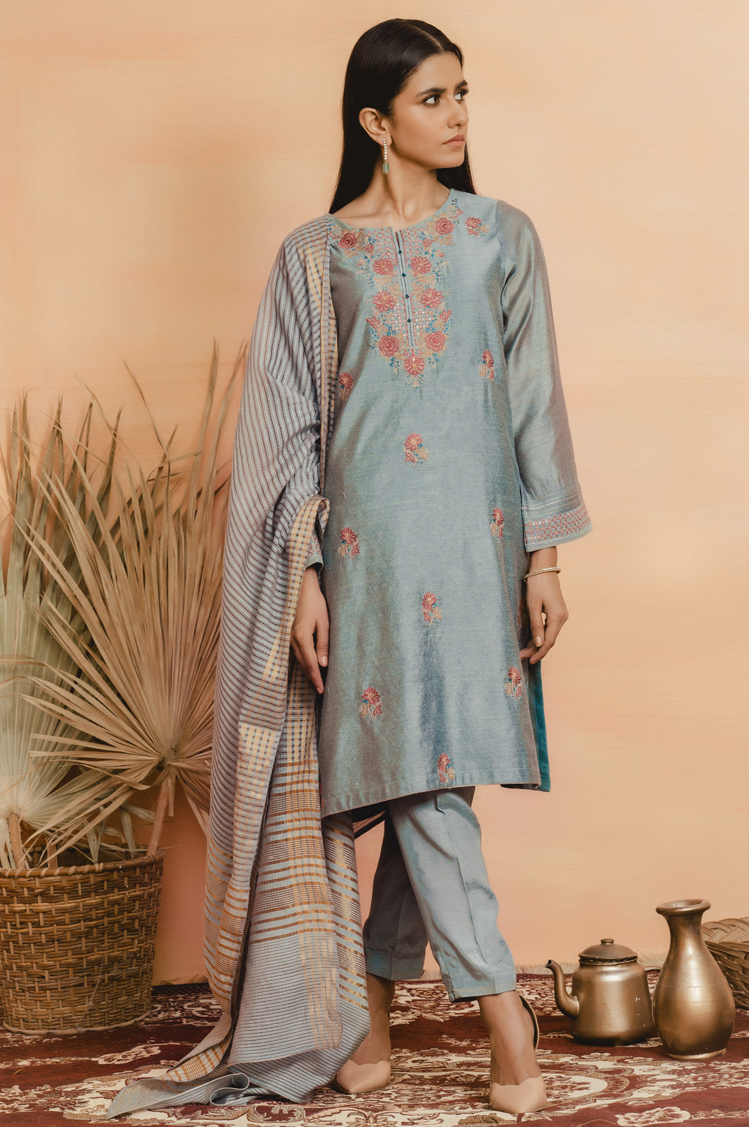 Stitched 3 Piece Cotton Net Embroidered Suit