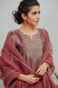 Stitched 3 Piece Paper Silk Embroidered Suit