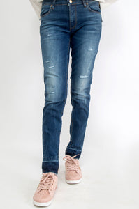 Cotton Denim Pants - Blue