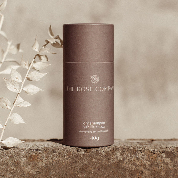 The Rose Company Vanilla Cocoa Dry Shampoo in sustainable packaging