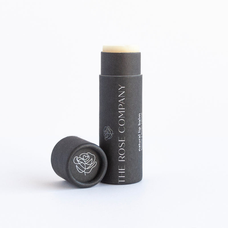 The Rose Company Vegan Lip Balm, Natural unscented.