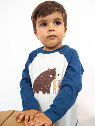 CAMISETA BASEBALL M/L ANIMAL BEBÉ /// White Navy