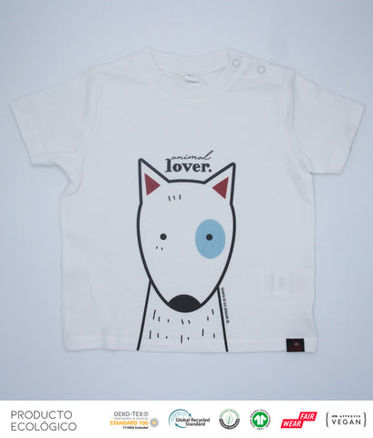CAMISETA ANIMAL LOVERS PERRO BEBÉ  /// White