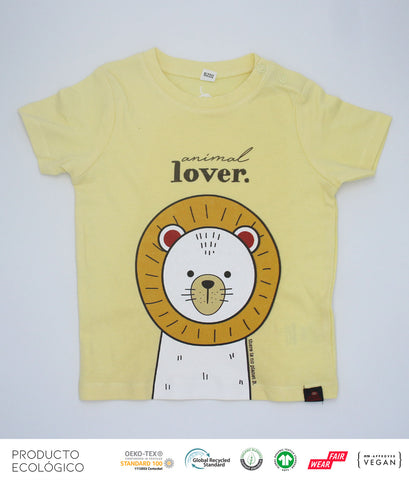 CAMISETA ANIMAL LOVERS LEÓN BEBÉ  /// Yellow