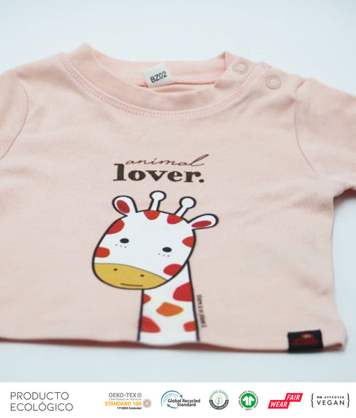 CAMISETA ANIMAL LOVERS  JIRAFA BEBÉ  /// Pink