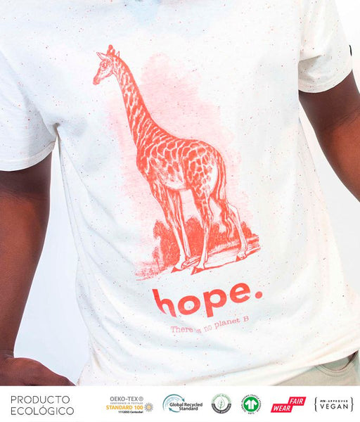 CAMISETA ANIMAL HOPE UNISEX /// Mandarin & Blanco