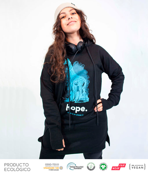 VESTIDO SUDADERA CAPUCHA ANIMAL HOPE /// Black