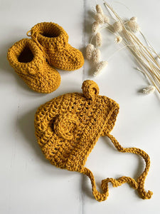 Knitted baby booties, Mustard