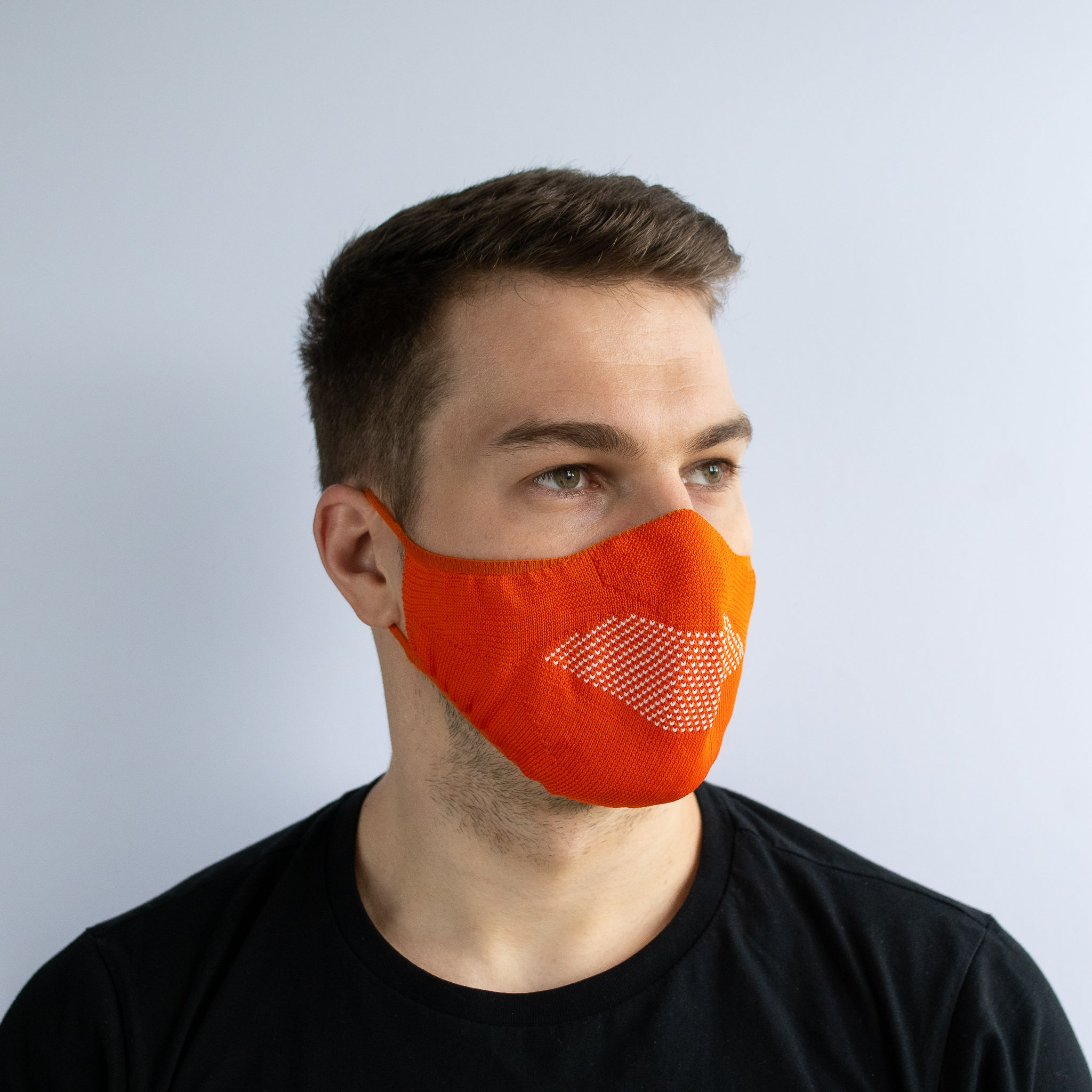 Face Mask - Orange / White