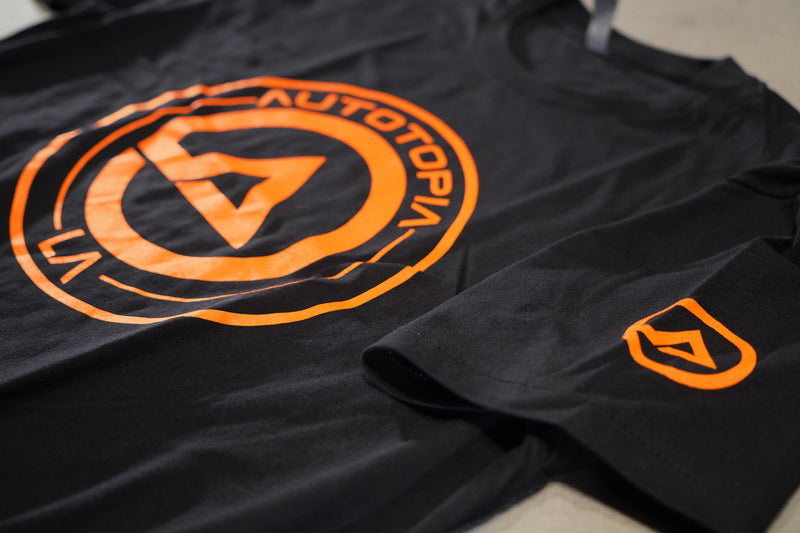 Core Crew Shirt // Autotopia LA  (Black / Orange Logo)