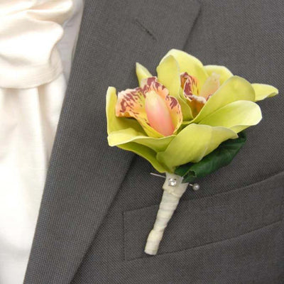 Grooms Double Green Silk Cymbidium Orchid & Diamante Buttonhole