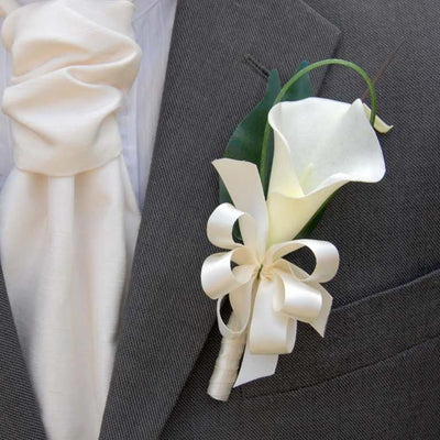 Grooms Artificial Ivory Calla Lily & Satin Ribbon Bow Buttonhole