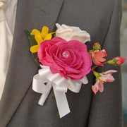 Grooms Cerise Pink Rose, Cherry Blossom & Yellow Forsythia Wedding Buttonhole