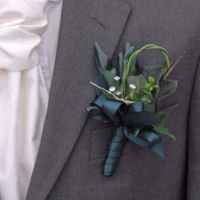 Grooms Mixed Green Foliage, Eucalyptus & Crystal Wedding Buttonhole