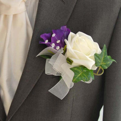 Grooms Purple Silk Lisianthus, Ivory Rose & Crystal Spray Buttonhole