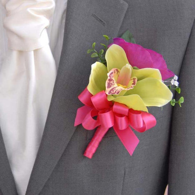 Grooms Green Silk Orchid & Cerise Anemone Wedding Buttonhole