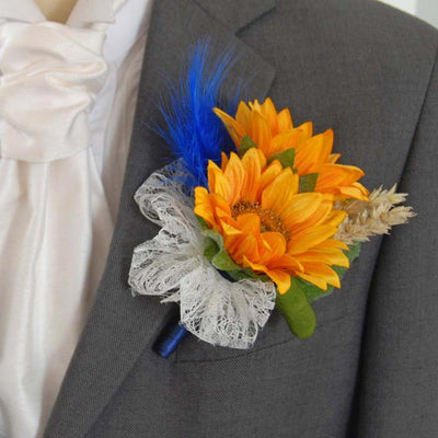 Grooms Double Golden Sunflower, Wheat & Blue Feather Wedding Buttonhole
