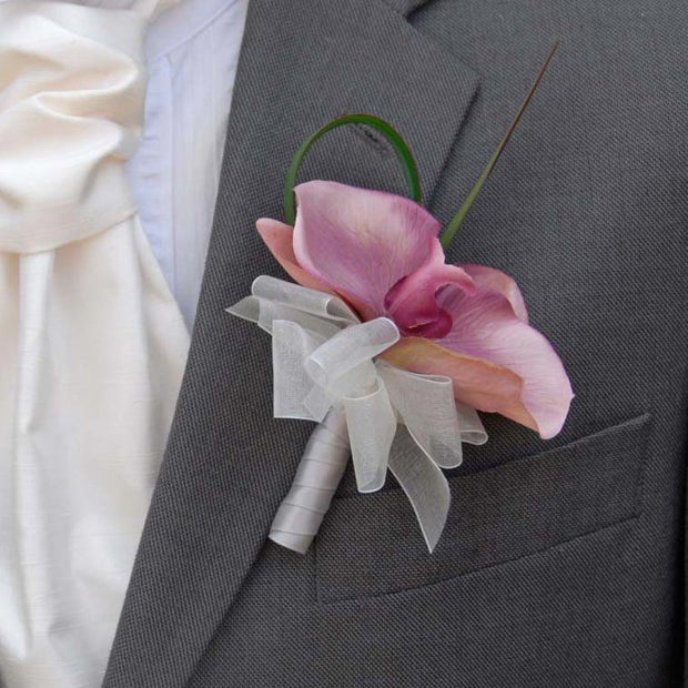 Grooms Dusky Pink Silk Orchid Wedding Day Buttonhole