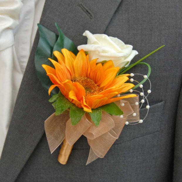 Grooms Golden Yellow Silk Sunflower & Ivory Rose Wedding Buttonhole