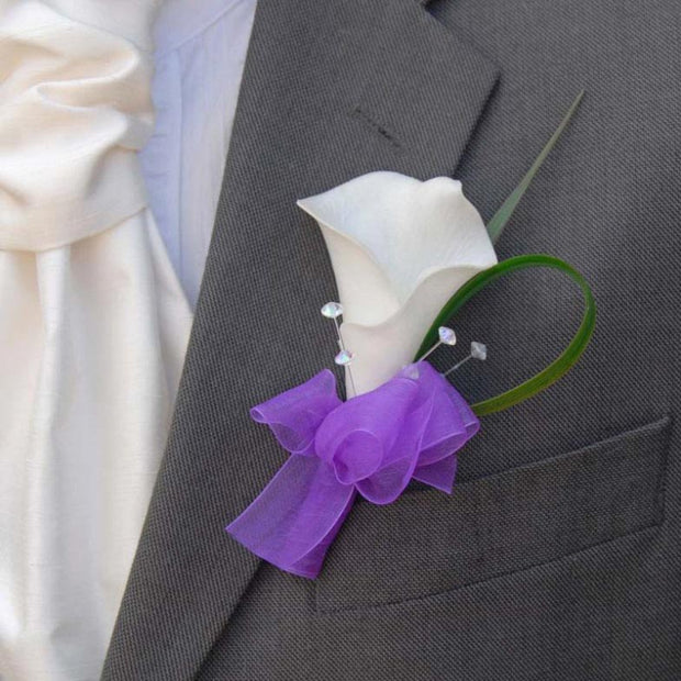 Grooms Ivory Calla Lily & Purple Organza Wedding Buttonhole