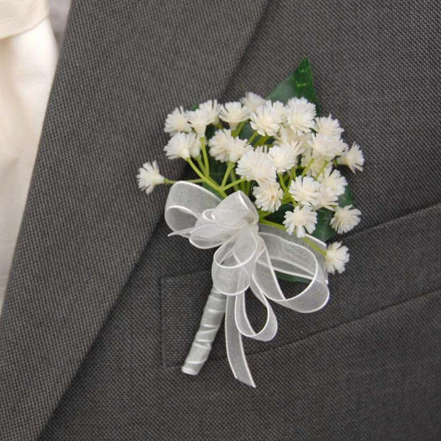 Grooms Ivory Artificial Gypsophila Wedding Day Buttonhole
